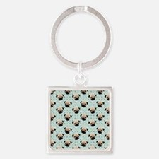 Pugs on Polka Dots Square Keychain