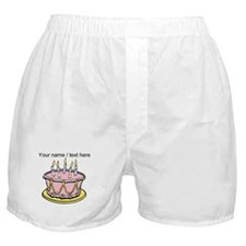 Custom Pink Birthday Cake Boxer Shorts
