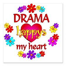 "Happy Drama Square Car Magnet 3"" x 3"""