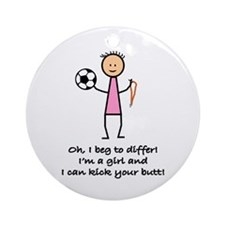 Girls Soccer Ornament (Round)