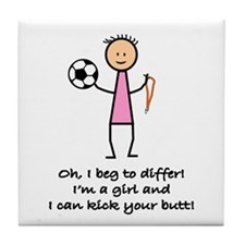 Girls Soccer Tile Coaster