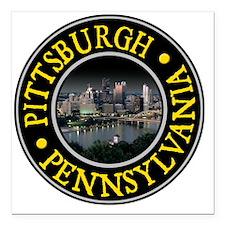 "Pittsburgh, PA Square Car Magnet 3"" x 3"""