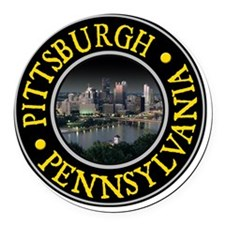 Pittsburgh, PA Round Car Magnet