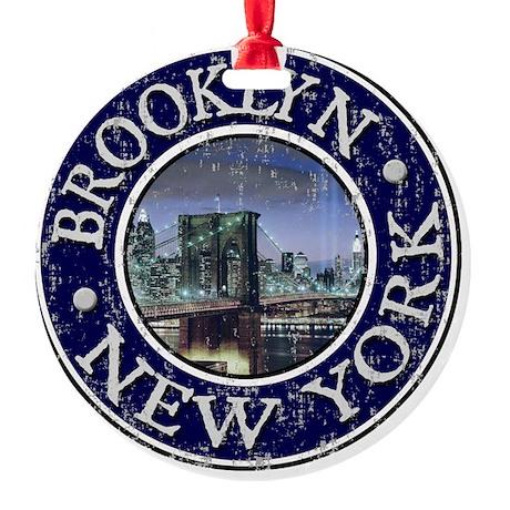 Brooklyn, NY - Distressed Round Ornament