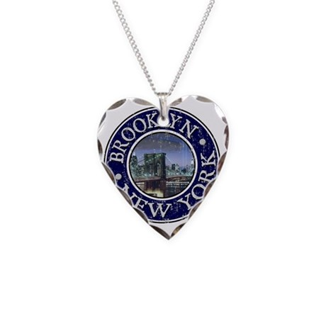 Brooklyn, NY - Distressed Necklace Heart Charm