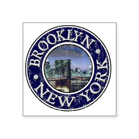 """Brooklyn, NY - Distressed Square Sticker 3"""" x 3"""""""
