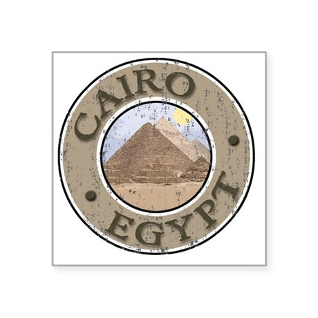 "Cairo, Egypt - Distressed Square Sticker 3"" x 3"""