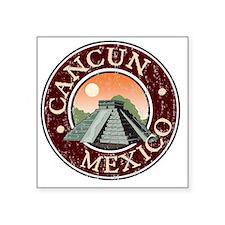 """Cancun, Mexico - Distressed Square Sticker 3"""" x 3"""""""