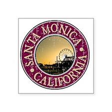 """Santa Monica, CA  - Distres Square Sticker 3"""" x 3"""""""