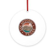 San Antonio, TX - Distressed Round Ornament