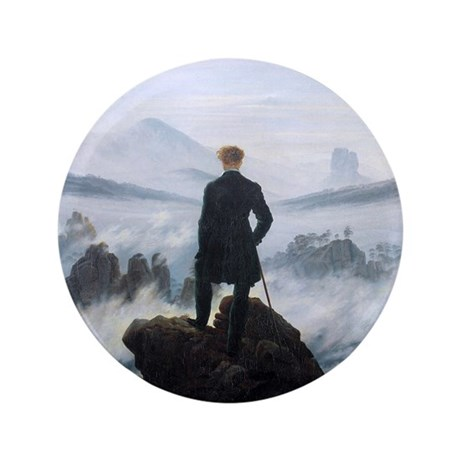 "Caspar David Friedrich wanderer above 3.5"" Button"