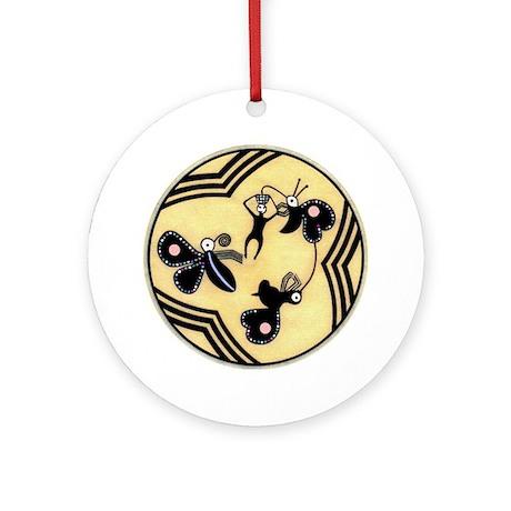 THREE BUTTERFLIES BOWL DESIGN Ornament (Round)