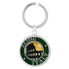 Rome, Italy - Distressed Round Keychain