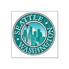 "Seattle, WA - Distressed Square Sticker 3"" x 3"""