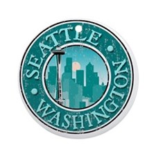 Seattle, WA - Distressed Round Ornament
