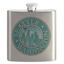 Seattle, WA - Distressed Flask