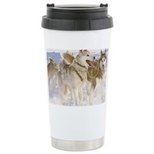 Huskies in winter Travel Mug
