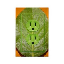 Green plant leaf with power outle Rectangle Magnet