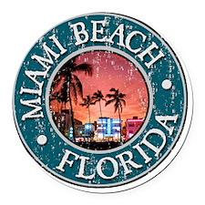Miami Beach, FL - Distressed Round Car Magnet