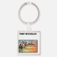 Fort McClellan with Text Square Keychain