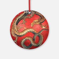 Katsushika Hokusai Dragon Round Ornament