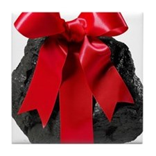 Lump of Coal With Red Ribbon Bow Tile Coaster