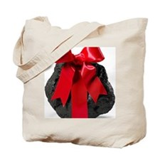 Lump of Coal With Red Ribbon Bow Tote Bag