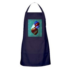 Green circuit board heart Apron (dark)