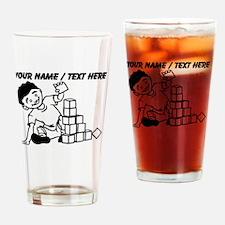 Custom Kid Playing With Blocks Drinking Glass