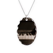 Old Piano - Polaroid 4x5 Necklace Oval Charm