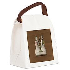 Primitive Snowmen Ornament Canvas Lunch Bag