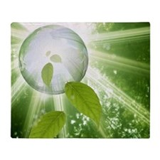 Digital composite of sphere and gree Throw Blanket