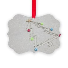 Beach drawing of Christmas tree Ornament