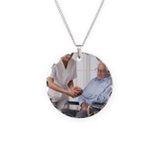 Nurse assisting elderly man  Necklace