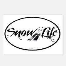 SnowLife Black Font Ski Postcards (Package of 8)