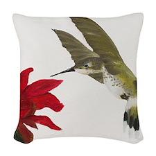 Hummingbird and Bee Balm Woven Throw Pillow