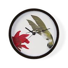 Hummingbird and Bee Balm Wall Clock