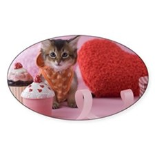 Somali Kitten and Heart Shaped Orna Decal