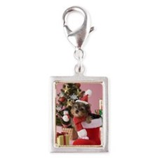 Yorkshire Terrier Puppy and  Silver Portrait Charm