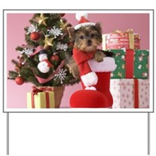 Yorkshire Terrier Puppy and Christmas Yard Sign