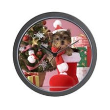 Yorkshire Terrier Puppy and Christmas Wall Clock