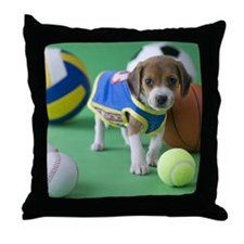 Beagle Puppy and Sports Throw Pillow