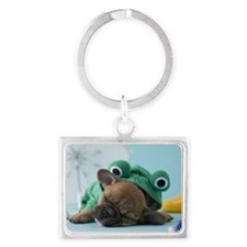 French Bulldog Puppy and Rainy  Landscape Keychain