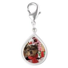 Yorkshire Terrier Puppy and Silver Teardrop Charm