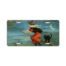 Halloween Witch Aluminum License Plate