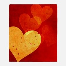 Red And Yellow Hearts Shower Curtain Throw Blanket