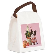 Papillon Puppy and Japanese New Y Canvas Lunch Bag