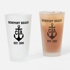 Newport Beach anchor design Drinking Glass
