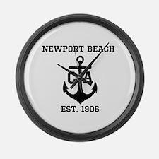 Newport Beach anchor design Large Wall Clock