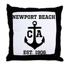 Newport Beach anchor design Throw Pillow